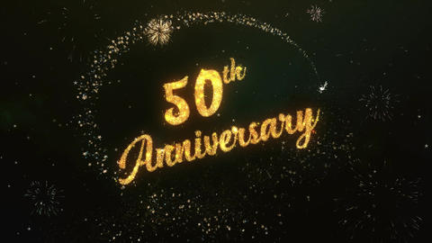 50th Anniversary Greeting Text Made from Sparklers Light Colorfull Firework Animation