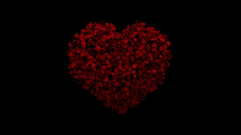 Heart animation from rose petals GIF