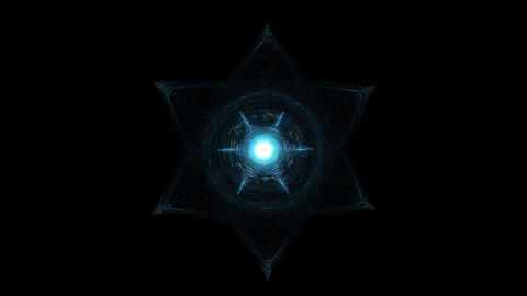 Light Beams Moving Around Glowing Hexagram. Esoterica, Sacred Geometry And GIF