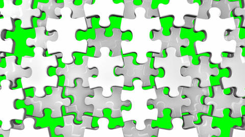 White Jigsaw Puzzle On Green Chroma Key CG動画