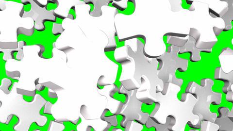White Jigsaw Puzzle On Green Chroma Key Animation