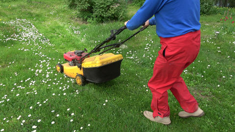 Farmer cut spring grass with lawn mower Live Action