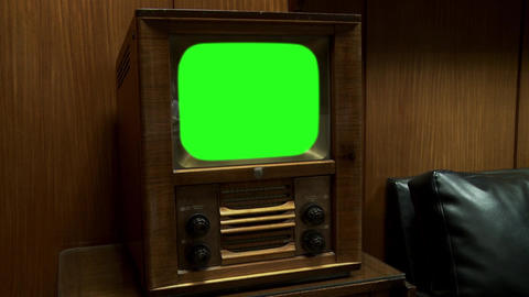 Vintage Television With Green Screen. Sepia Color Live Action