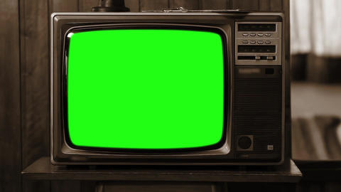 1980s Television Green Screen. Sepia Tone. Zoom Out Live Action
