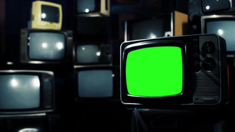Vintage 80S Tv With Green Screen. Iron Tone. Zoom In Live Action
