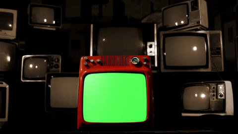Old Red Tv Green Screen With Many Tvs. Background Goes Black. Sepia Tone Live Action