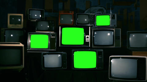 80s Televisions With Green Screens. Zoom Out. Blue Steel Tone GIF