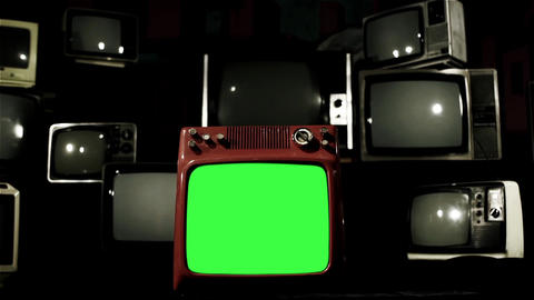 Old Red Tv Green Screen With Many Tvs. Blue Steel Tone. Dolly In Live Action