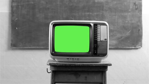 80S Television With Green Screen In A School. Black And White Tone Footage