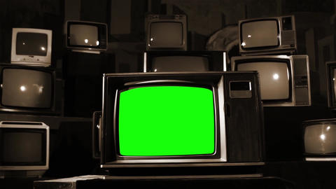 Old Tv With Green Screen With Many 80s Tvs. Sepia Tone. Dolly In Live Action