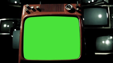 Old Television with Green Screen in the Middle of Many 80s Tvs. Dolly In. Blue ライブ動画