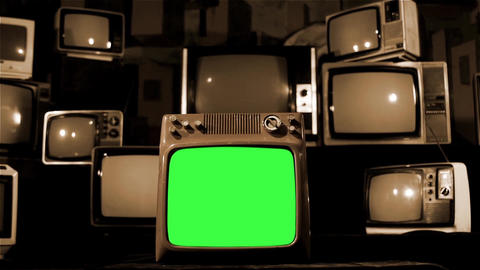 Vintage Tv Green Screen With Many 1980s Tvs. Dolly Out Shot. Sepia Tone Live Action