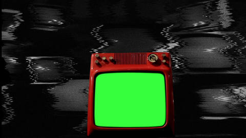 Old Red Tv Green Screen In The Middle Of Many Tvs. Noise Background. Bw Tone ライブ動画