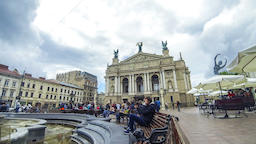 Lviv National Academic theatre of Opera and Ballet, Lviv,Ukraine Footage