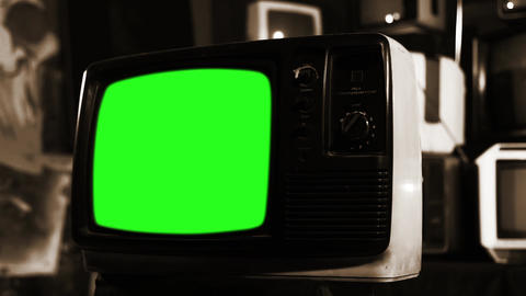 Old Tv With Green Screen. Sepia Shot Live Action