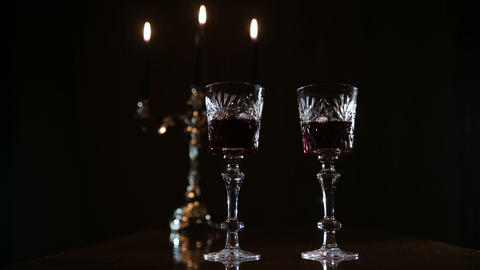 Romantic evening with wine Stock Video Footage