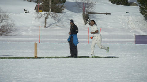 cricket on ice bowling slow motion Footage