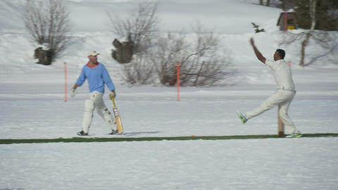 cricket on ice bowling slow motion Live Action