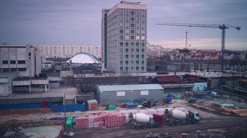 Minsk Winter Hotel Construction 4k Time Lapse stock footage