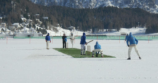 cricket on ice delivery Footage