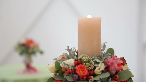 Burning Candle on the Decorated Wedding Candlestick Footage