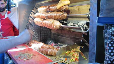 Turkish fast food kokorec Footage