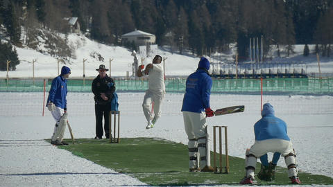 cricket on ice delivery slow motion Footage