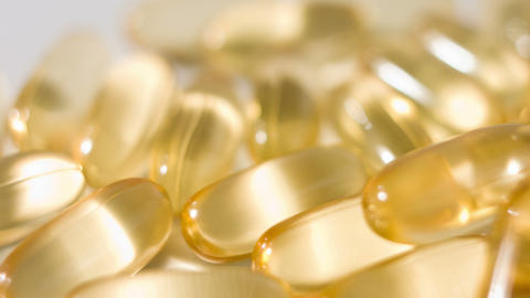 Omega3 cod-liver oil gel capsules close-up Footage