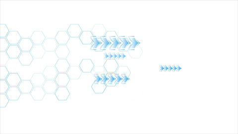 Blue arrows and hexagons motion on white background Animation