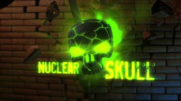 Nuclear Skull - Skull Crsashing Through Brick Wall Logo Stinger stock footage