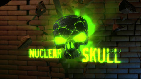 Nuclear Skull - Skull Crsashing Through Brick Wall Logo Stinger After Effects Template