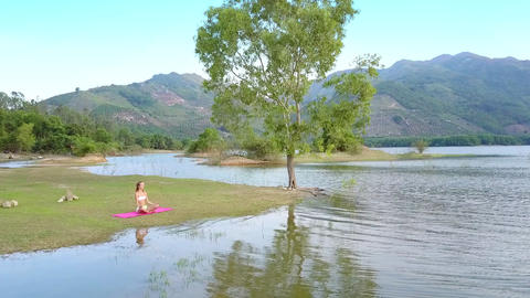 curly tree reflection in lake girl sits on grass bank Footage