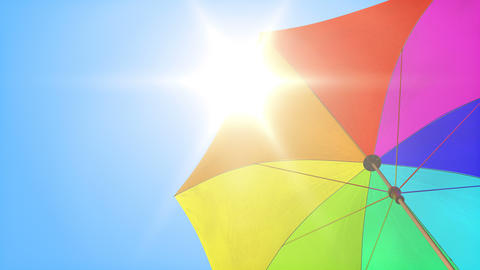Loop: Sun umbrella under summer sky Animation