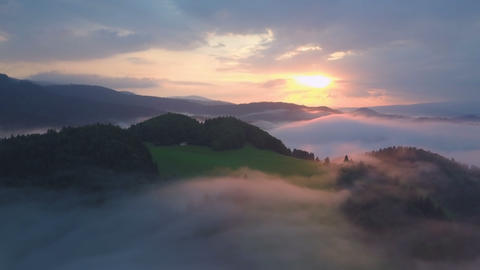 Panoramic view of morning foggy landscape Footage