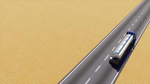 Oil truck on desert road loop able 3D animation Animation