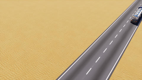 Petrol tanker truck on desert road copy space 3D, Stock Animation