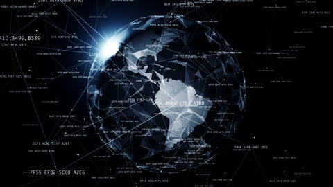 Global network connections around the earth Animation