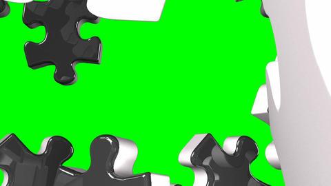Black Jigsaw Puzzle On Green Chroma Key, Stock Animation