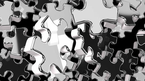 Silver Jigsaw Puzzle On Black Background CG動画