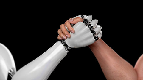 Human Against Robot, Arm Wrestling Competition, Human Win. Beautiful 3d Animation