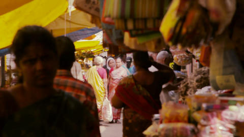 Market place, people shopping, looking at vegetables in vegetable market Footage