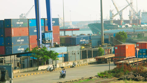 container truck tractors in cargo terminal of port, Chennai Port Live Action
