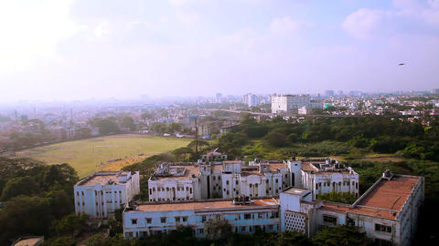 aerial view of cricket ground. View of buildings or apartments from lighthouse. Footage