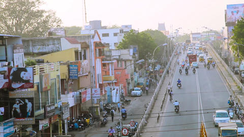 City center rush hour traffic commuters central Chennai, India Footage