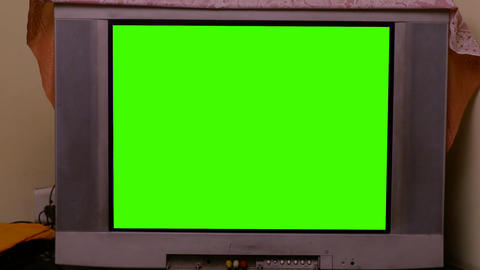 TV with track green screen in modern living room Footage
