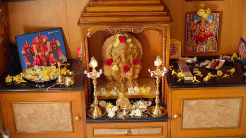 pooja room with oil lamp, house interior designs Live Action
