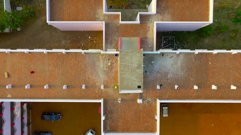 aerial shot of university campus building exterior Live Action