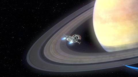 Futuristic Spaceship Arriving at a Planet GIF