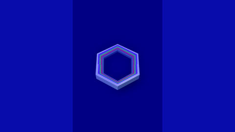 3d video with hexagonal shapes in different colors, zooming and turning on dark Animation