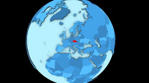 Czech republic on blue planet Animation